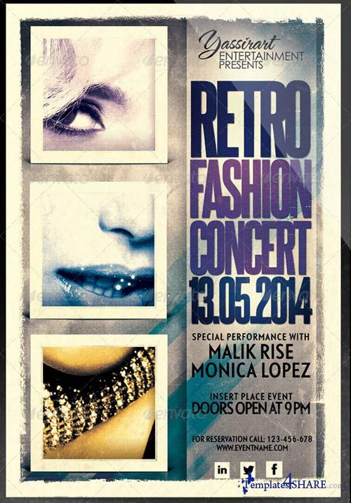 GraphicRiver Retro Fashion Concert Flyer Template