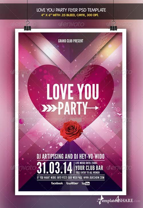 GraphicRiver Love You | Valentine Party Flyer