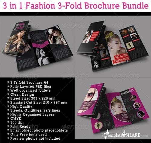 GraphicRiver 3 in 1 Fashion 3-Fold Brochure Bundle 03