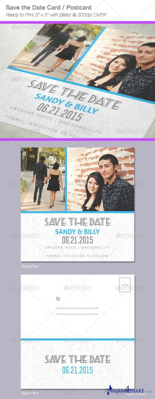 GraphicRiver Fresh Save The Date Postcard / Card