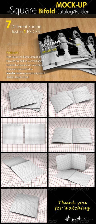 GraphicRiver Square Bi-fold Catalog/Brochure Mock Up