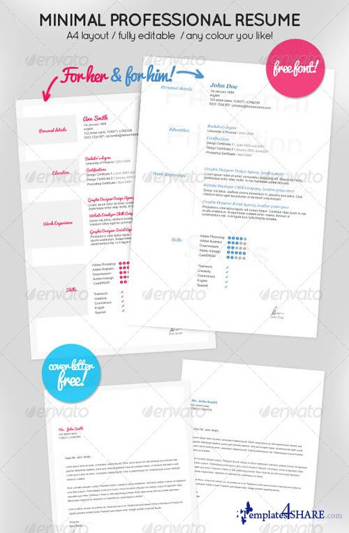GraphicRiver Minimal Resume for Her & Him + Cover letter