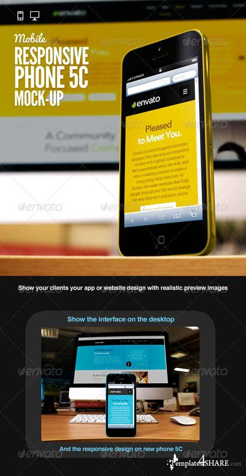 GraphicRiver Responsive Devices Phone 5C Desktop Mock-Up