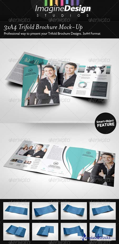 GraphicRiver 3xA4 Trifold Brochure Mock-Up