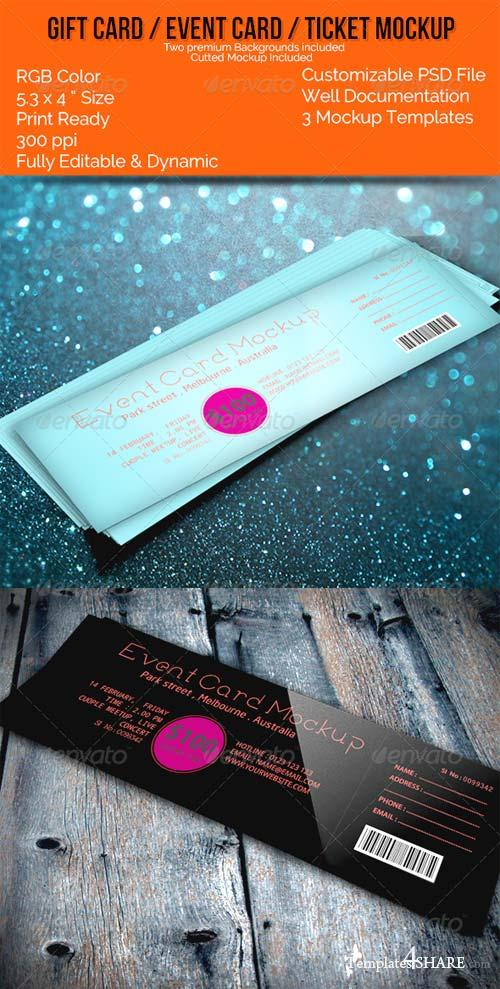 GraphicRiver Realistic Gift Card/Event Card/Ticket Card Mockups