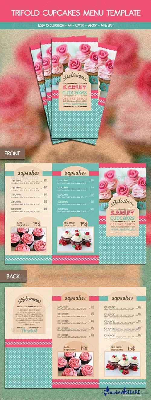 GraphicRiver Trifold Cupcakes Menu Template