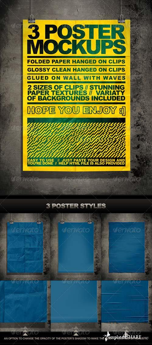 GraphicRiver Poster Mock Up Kit = 3 Unique Styles + Backgrounds