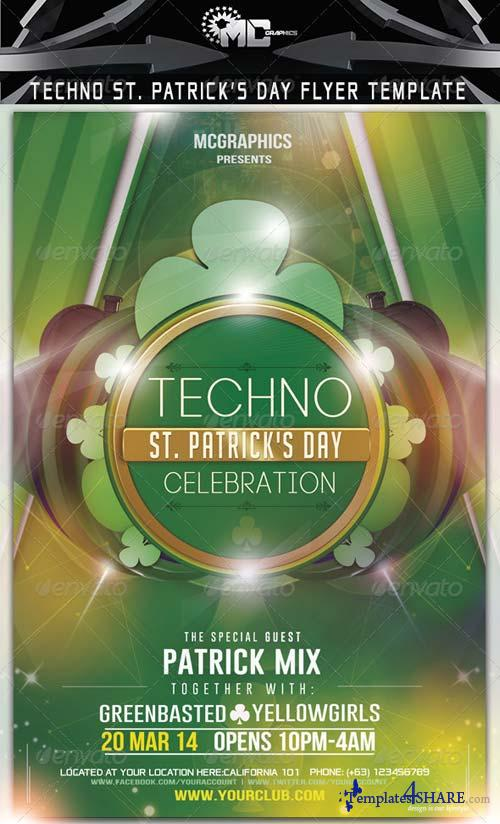 GraphicRiver Techno St. Patrick's Day Flyer Template