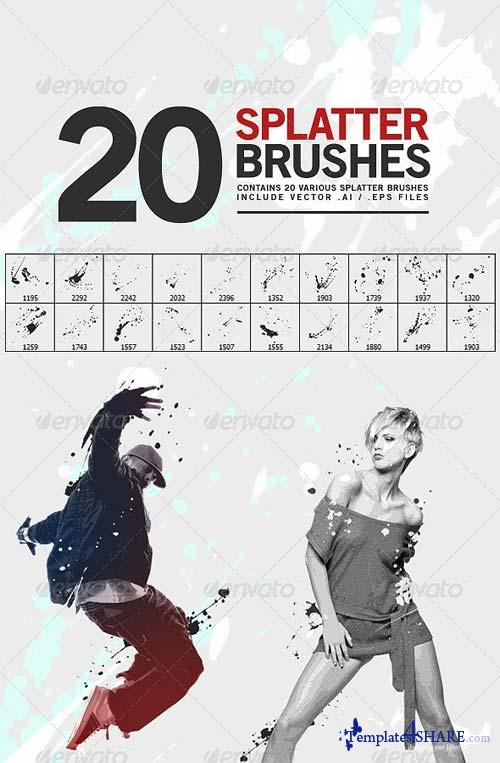 GraphicRiver 20 Splatter Brushe
