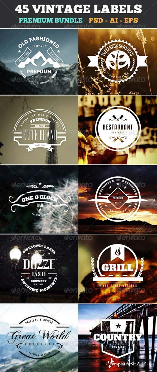 GraphicRiver 45 Vintage Labels & Badges Logos Bundle