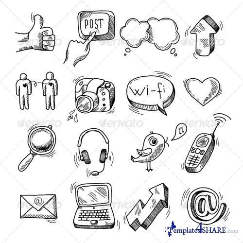 GraphicRiver Doodle Social Icons Set