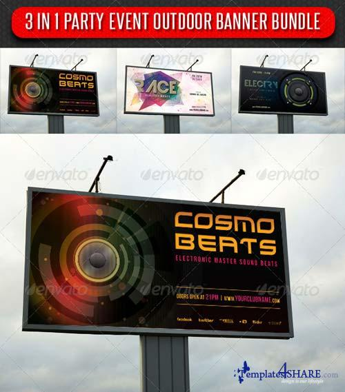 GraphicRiver 3 in 1 Party Event Outdoor Banner Bundle 01