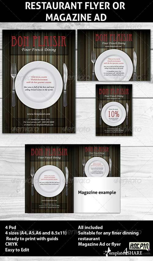 GraphicRiver Restaurant Magazine Ads or Flyer Template