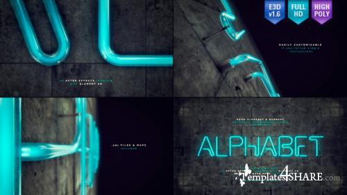 Neon Alphabet & Numbers - After Effects Project (Videohive)