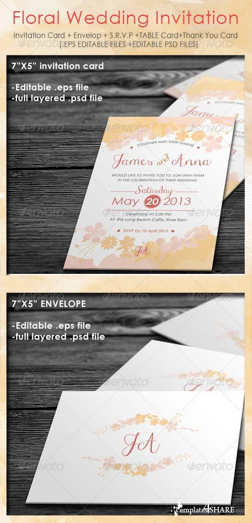 GraphicRiver Floral Wedding Invitation Package