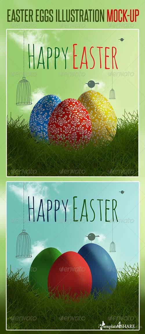 GraphicRiver Easter Eggs Illustration Mock-up