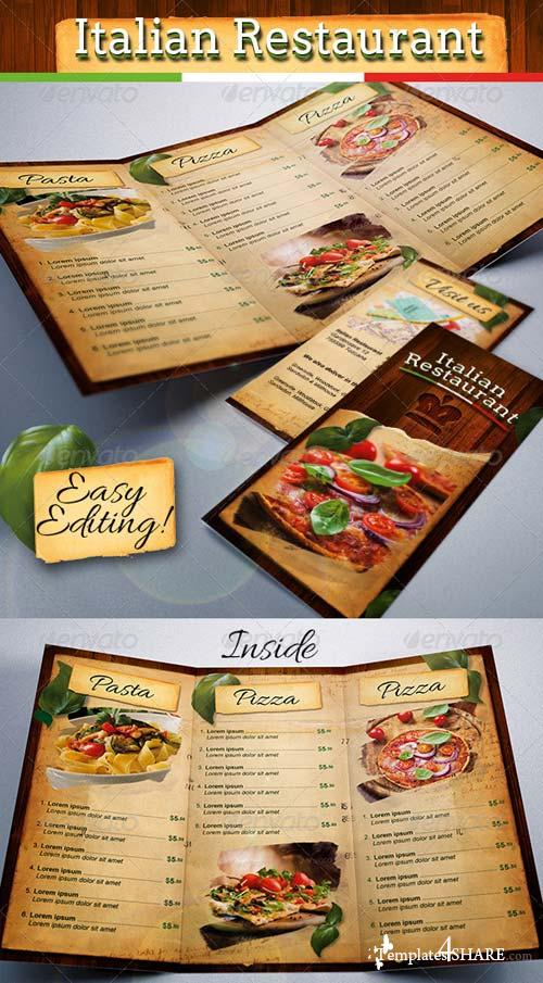 GraphicRiver Italian Restaurant Food Menu Template Tri-Fold