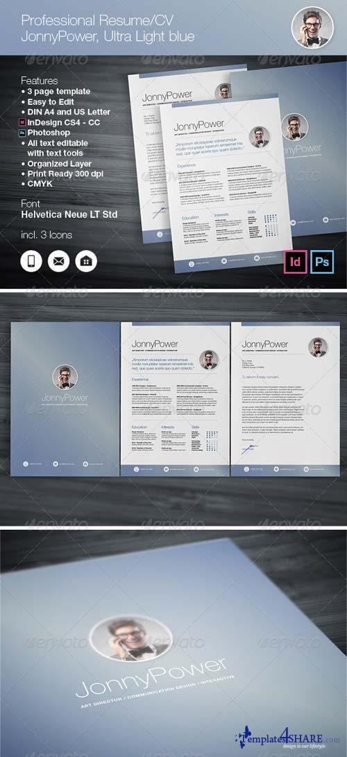 GraphicRiver Professional Resume / CV Ultra Light blue