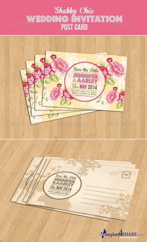 GraphicRiver Shabby Chic Wedding Invitation Post Card