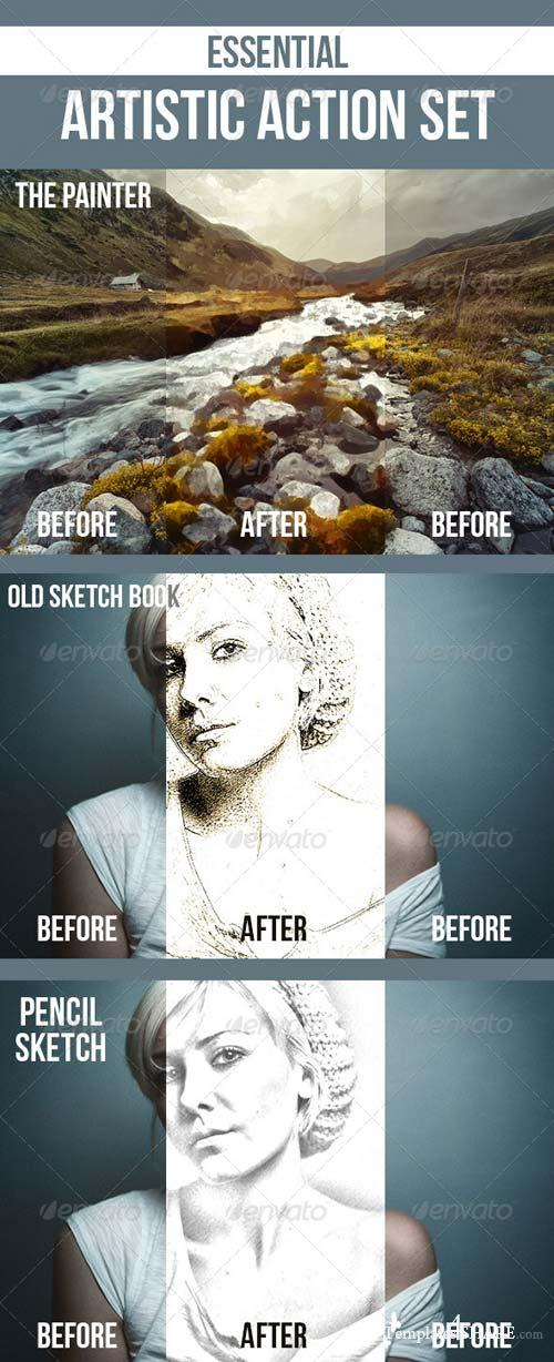 GraphicRiver Pencil Sketch, Old Sketchbook, Painting, Newspaper