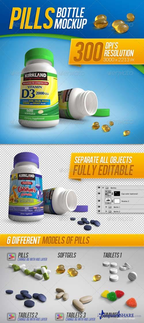 GraphicRiver Tablets, Vitamins and Pills Bottle Mockup
