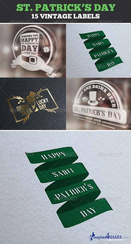 GraphicRiver Saint Patrick's Day Vintage Labels & Badges Logos
