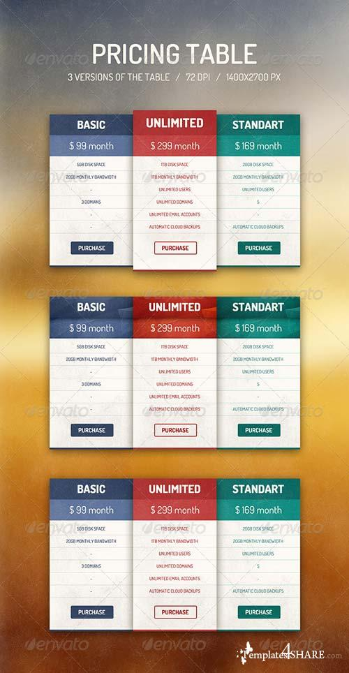 GraphicRiver Pricing Table