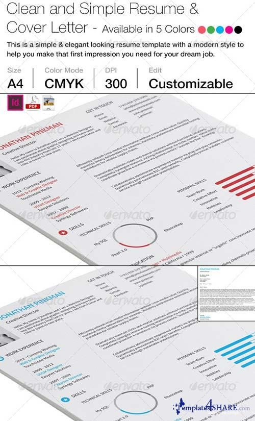 GraphicRiver 2-Piece Clean Simple Resume with Cover Letter