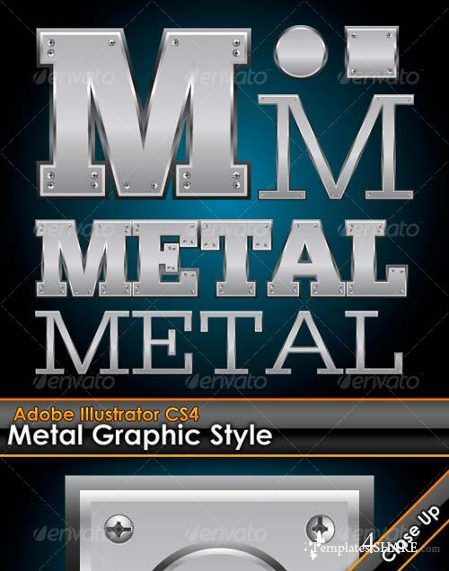 GraphicRiver Metal Plate Illustrator Graphic Style with Bolts