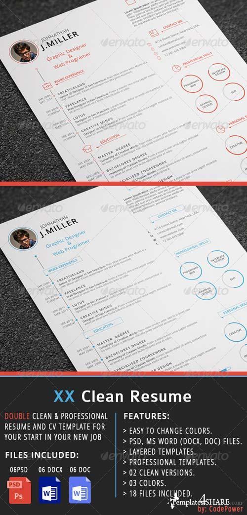 graphicriver xx clean resume  u00bb templates4share com