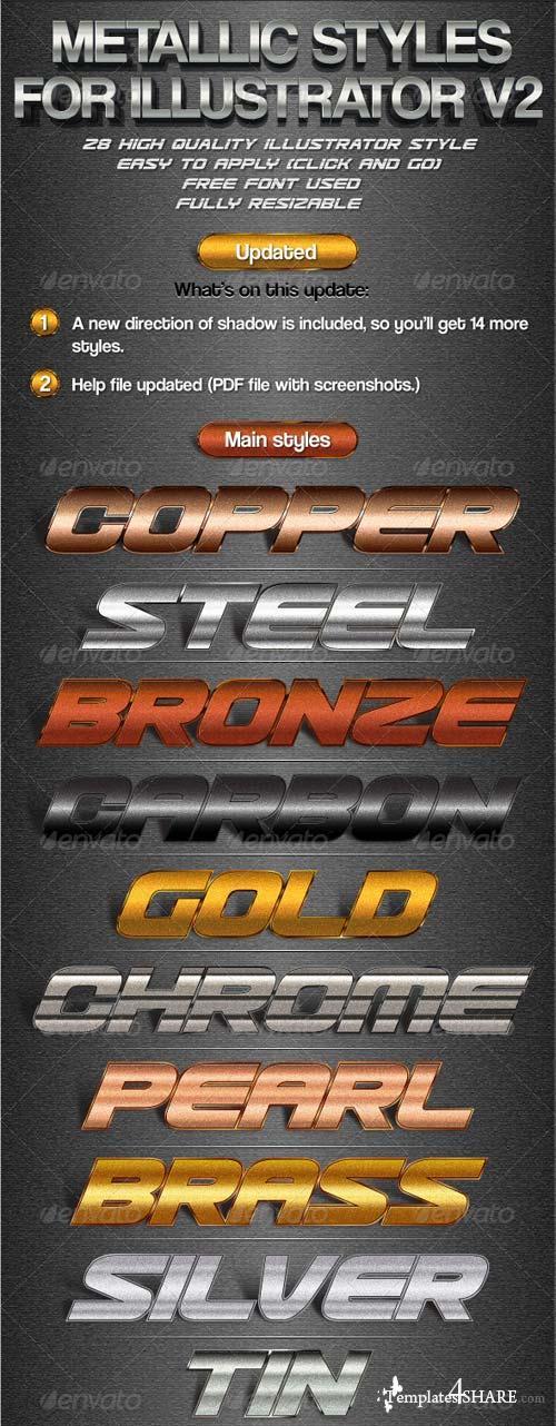 GraphicRiver Metallic Styles for Illustrator V2
