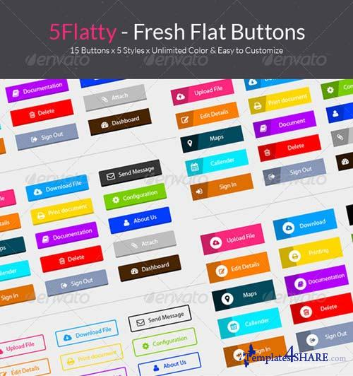 GraphicRiver 5flatty - Fresh Flat Buttons