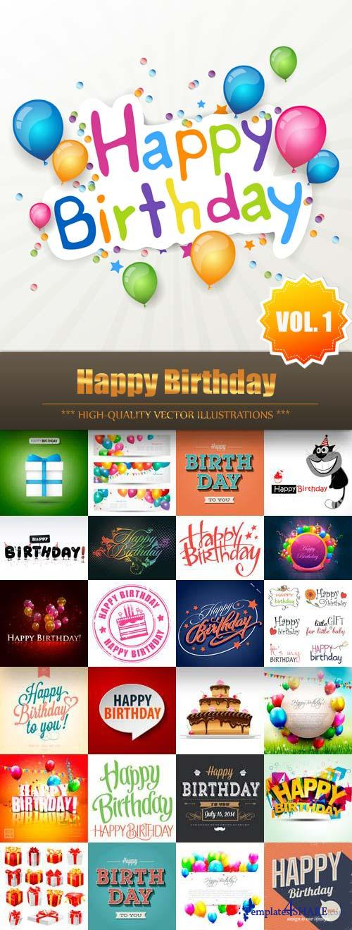 Happy Birthday Vector Collection (Vol.1)