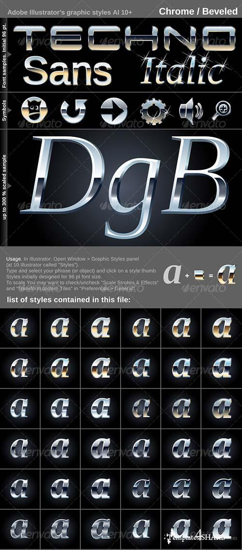 GraphicRiver 60 Illustrator's graphic styles. Crome. Beveled