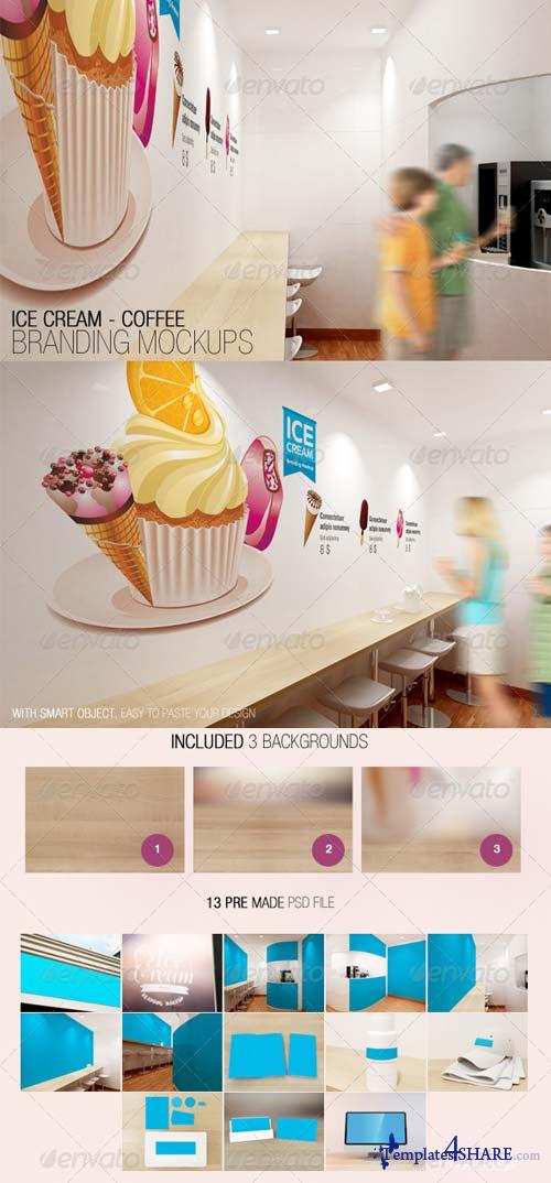 GraphicRiver Ice Cream - Coffee Branding Mockups