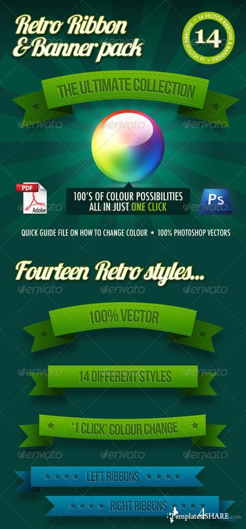 GraphicRiver 14 Retro Ribbons & Banners