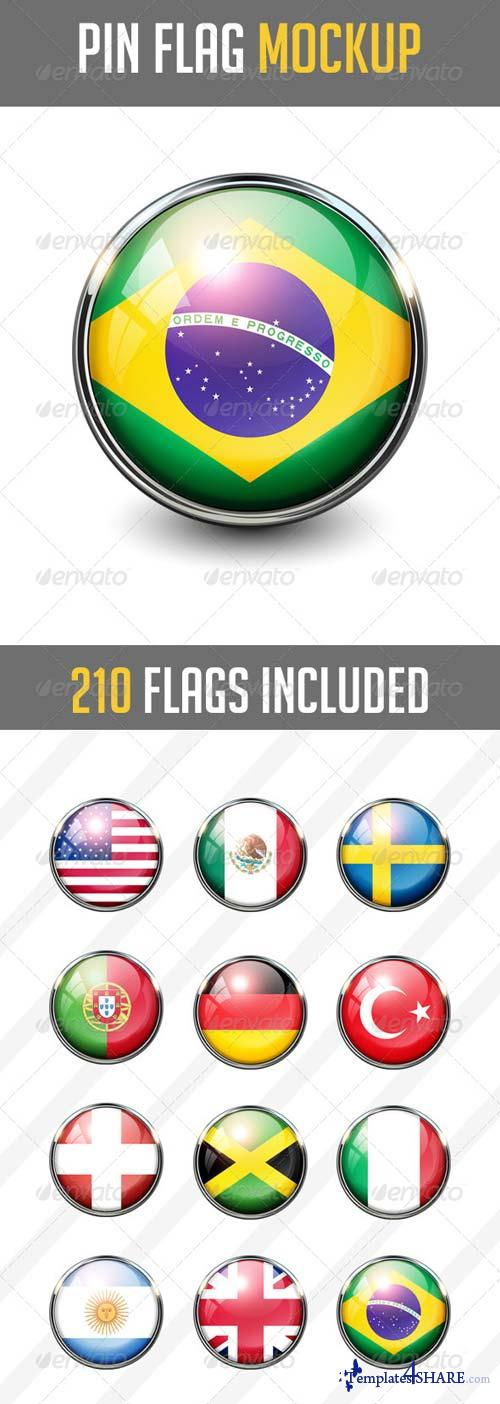 GraphicRiver 210 Pin Flags MockUp