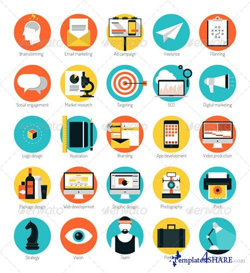 GraphicRiver Marketing and Design Services Flat Icons Set