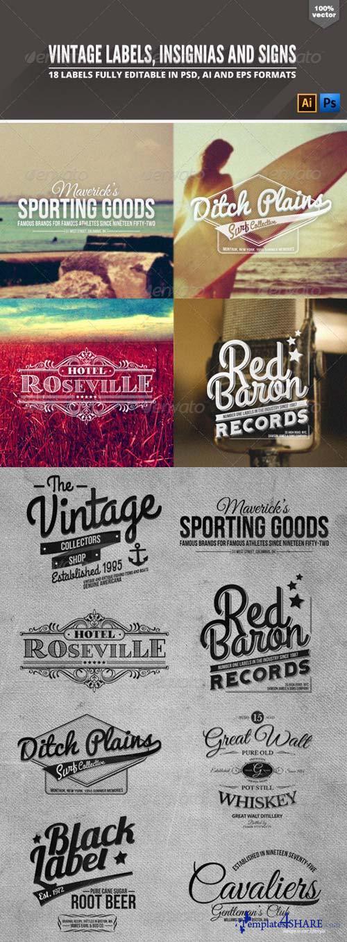 GraphicRiver Vintage Badges Labels & Signs
