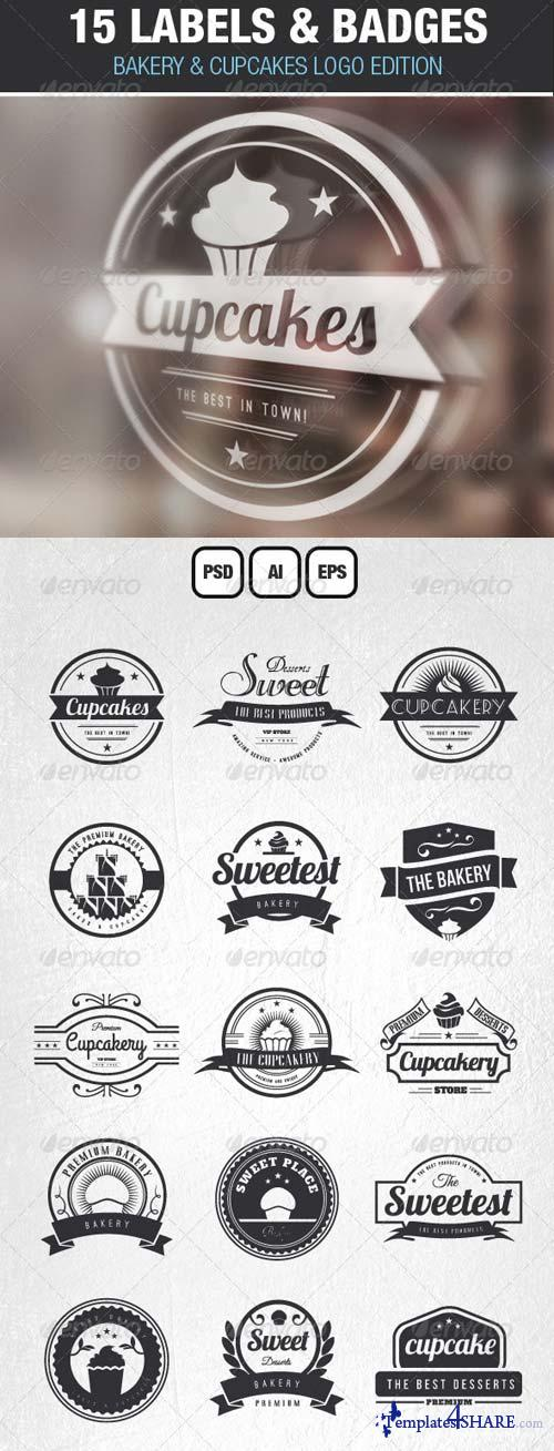 GraphicRiver 15 Bakery Cupcakes and Cakes Labels & Badges Logos