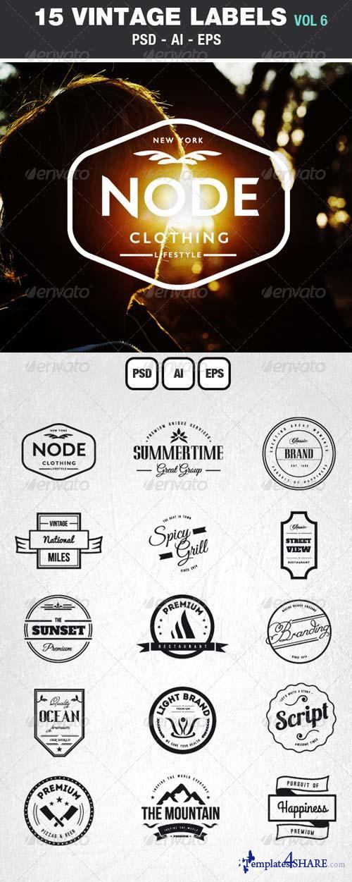 GraphicRiver Retro Vintage Labels & Badges Logos V6