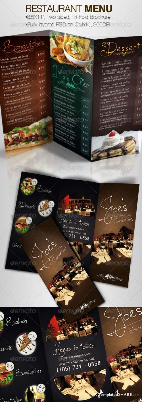 GraphicRiver Tasty Restaurant Menu Tri-Fold Brochure