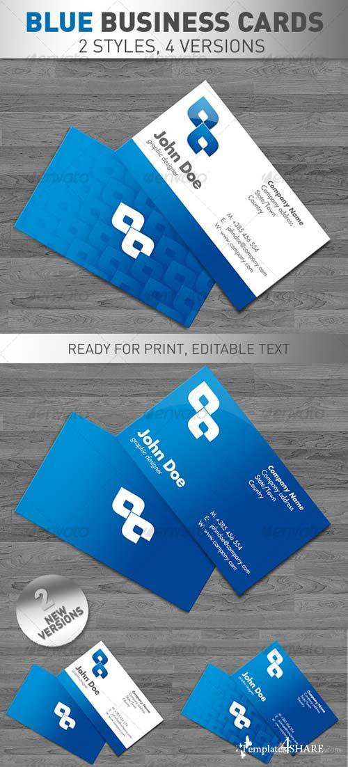 GraphicRiver Blue Business Cards 4 VERSIONS