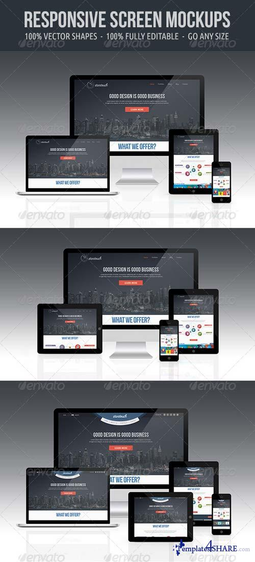 GraphicRiver Responsive Screen Mockup Set