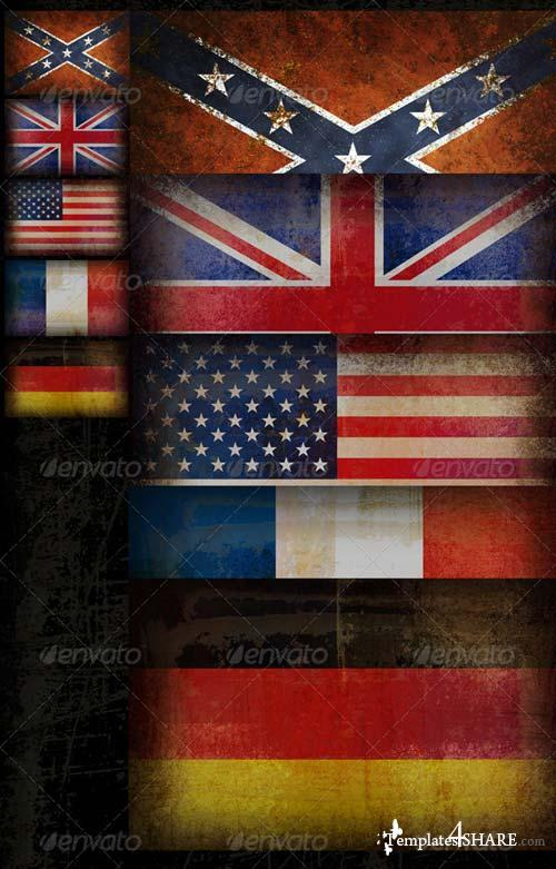 GraphicRiver Five Old Grunge Flags