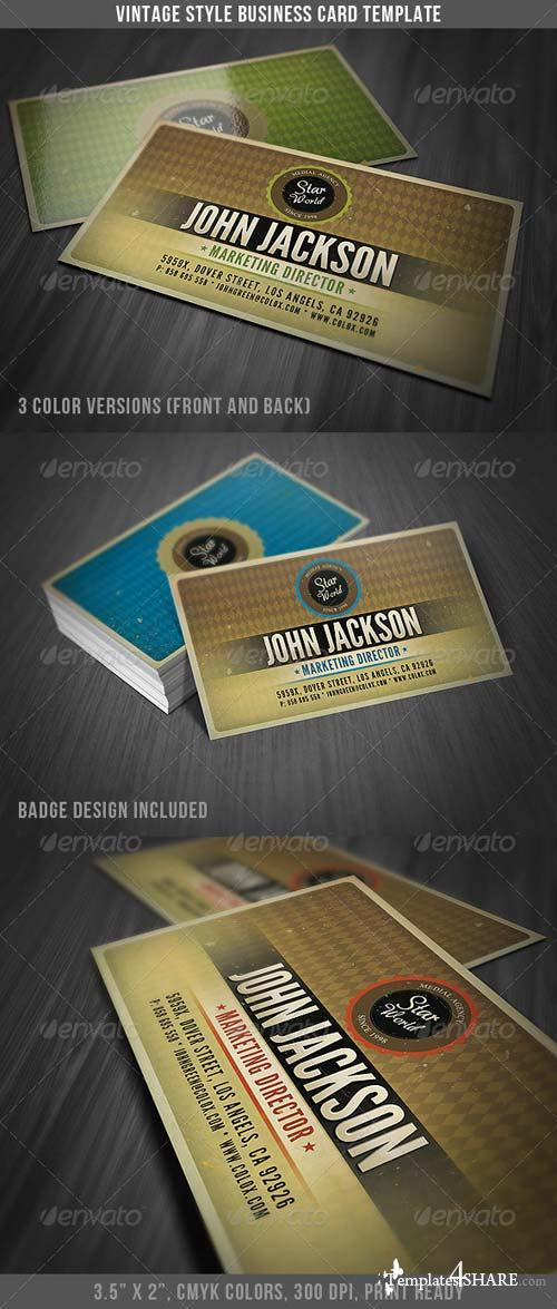 GraphicRiver Vintage Style Business Card Template
