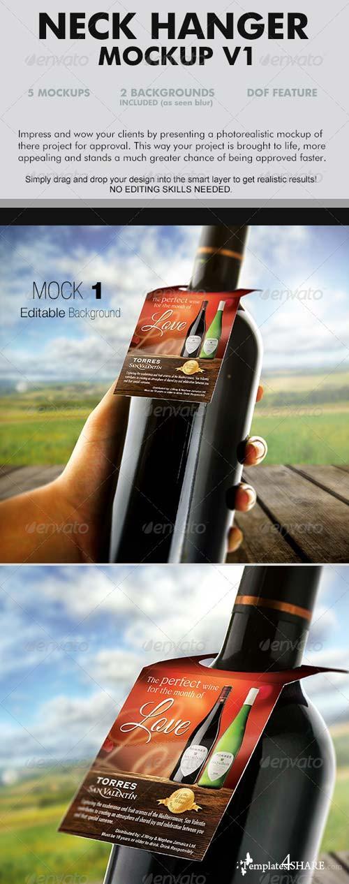 GraphicRiver Wine Neckhanger Mockup