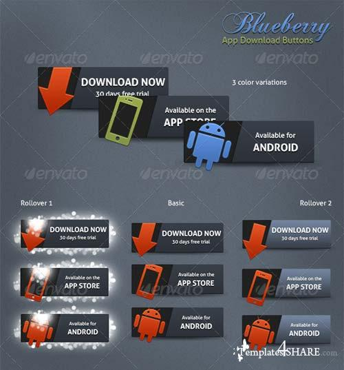 GraphicRiver Blueberry App Download Buttons