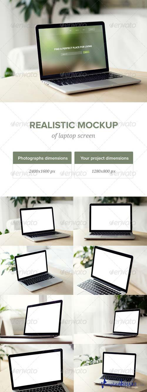 GraphicRiver Realistic Laptop Screen Mockup - 8 PSD files