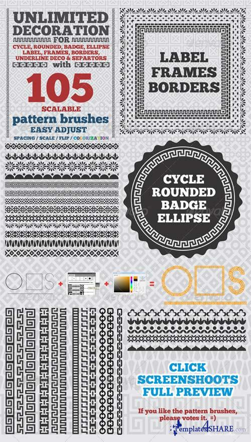 GraphicRiver 105 Borders Cycle Patterns Brushes for Illustrator